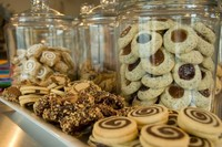 Glass jars filled with cookies