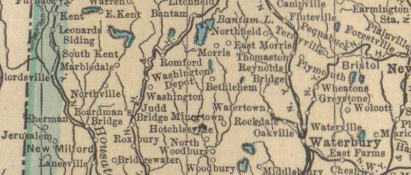 Old Connecticut map of 1923 with the area around Washington