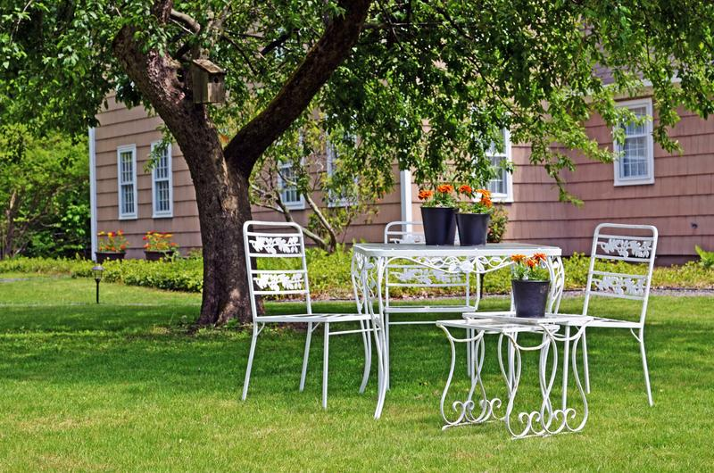 Romantic seating under apple tree