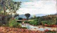 Painting of Frank Henry Shapleigh - Bridge at Jackson New Hampshire