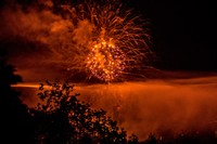 Orange sky with fireworks