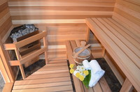 wellness area with sauna heater